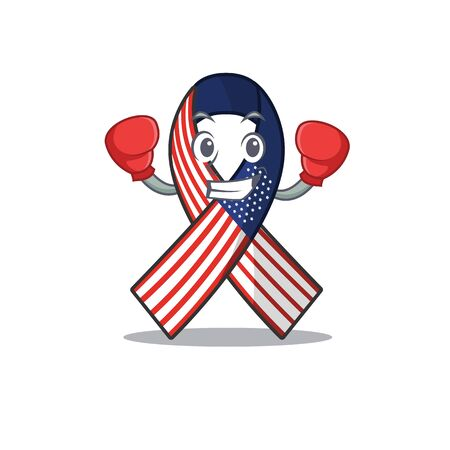 Cartoon usa ribbon with the boxing character Archivio Fotografico - 134007953