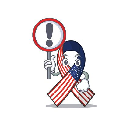 Cartoon usa ribbon with the with sign warning character. Archivio Fotografico - 134007955