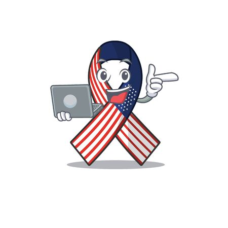 Cartoon usa ribbon with the with bring laptop character. Archivio Fotografico - 134007956