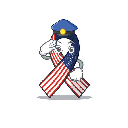 Cartoon usa ribbon with the police character. Archivio Fotografico - 134007959