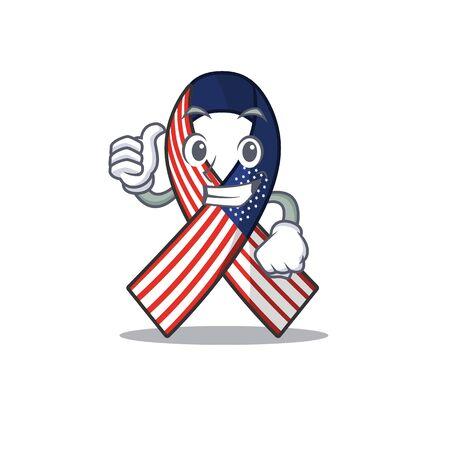 Character usa ribbon isolated on the thumbs up Ilustrace