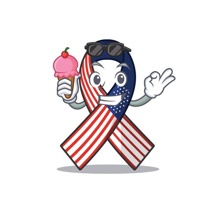 Character usa ribbon isolated on the with ice cream Archivio Fotografico - 134007865