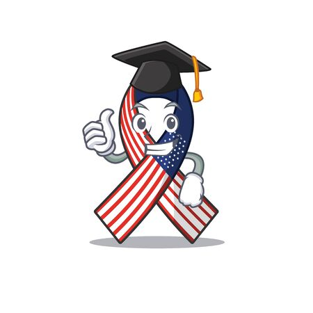 Character usa ribbon isolated on the graduation hat Ilustrace