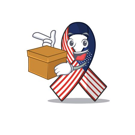 Character usa ribbon isolated on the with bring box. Archivio Fotografico - 134007819