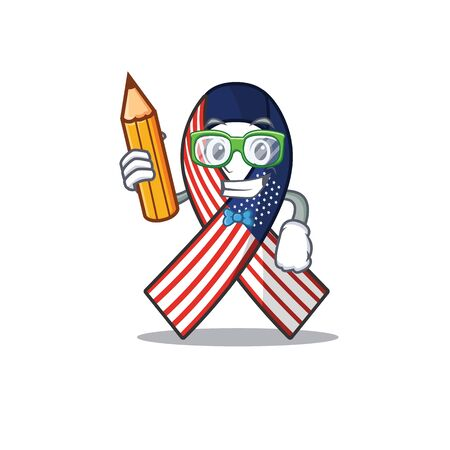 Character usa ribbon isolated on the student holding pencil. Archivio Fotografico - 134007820