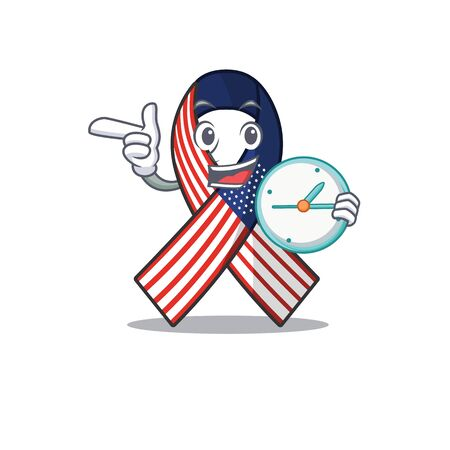 Character usa ribbon isolated on the with bring clock. Archivio Fotografico - 134007823