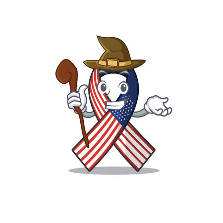 Mascot usa ribbon witch in the character Archivio Fotografico - 134007827