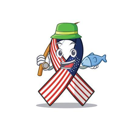Mascot usa ribbon fishing in the character. Archivio Fotografico - 134007831