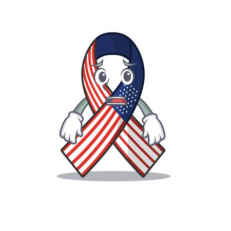 Mascot usa ribbon afraid in the character.