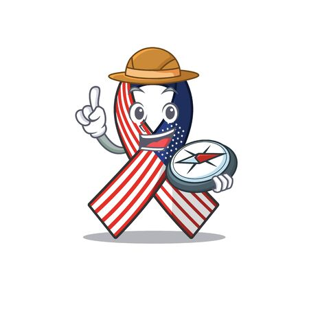 Mascot usa ribbon holding compass in the character. Archivio Fotografico - 134007653