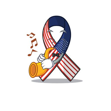 Mascot usa ribbon with trumpet in the character. Archivio Fotografico - 134007655