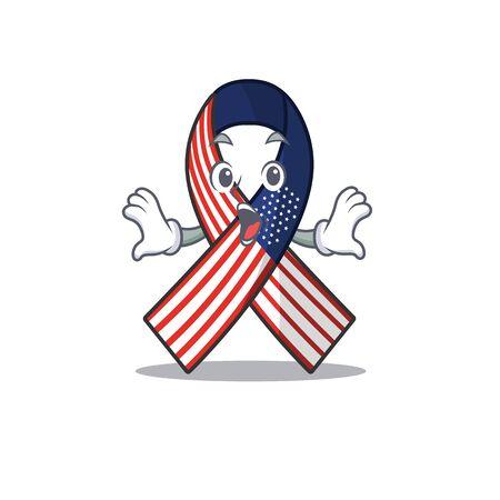Mascot usa ribbon surprised in the character. Archivio Fotografico - 134007654