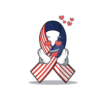 Mascot usa ribbon in love in the character.