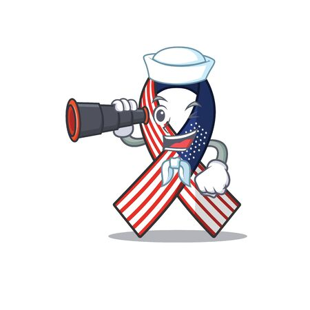 Mascot usa ribbon sailor holding binocular in the character. Archivio Fotografico - 134007663