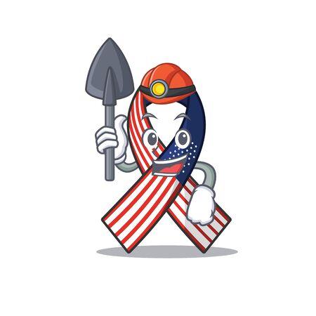 Mascot usa ribbon miner in the character. Archivio Fotografico - 134007673