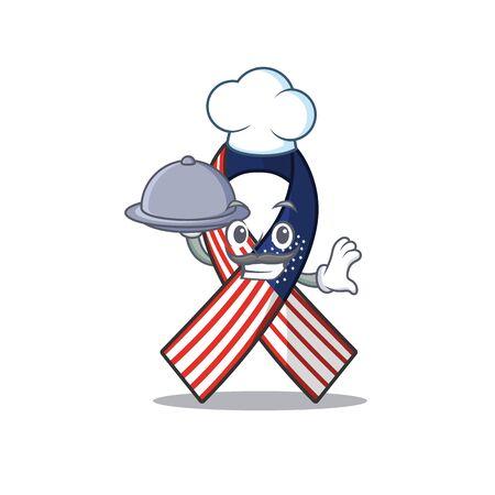 Mascot usa ribbon chef holding food in the character Archivio Fotografico - 134007665
