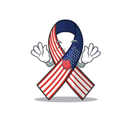 Cartoon usa ribbon with in character tongue out