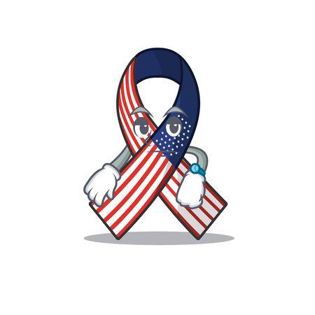 Cartoon usa ribbon with in character waiting Archivio Fotografico - 134007668