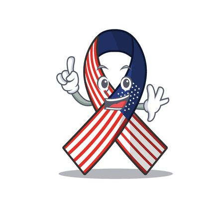 Cartoon usa ribbon with in character finger. Archivio Fotografico - 134007667