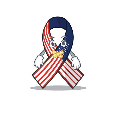 Cartoon usa ribbon with in character silent. Archivio Fotografico - 134007670