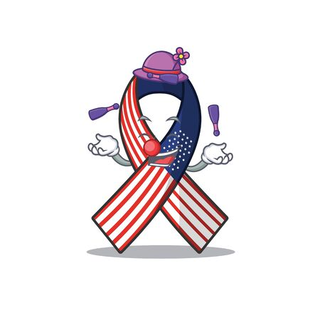 Cartoon usa ribbon with in character juggling.