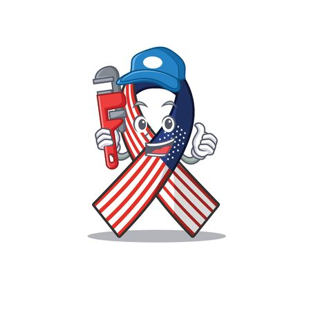 Cartoon usa ribbon with in character plumber. Archivio Fotografico - 134007417