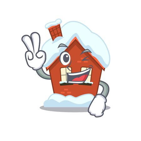 Winter house in the cartoon shape two finger 스톡 콘텐츠 - 134007418