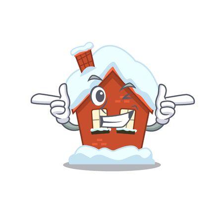 Winter house in the cartoon shape wink 스톡 콘텐츠 - 134007420