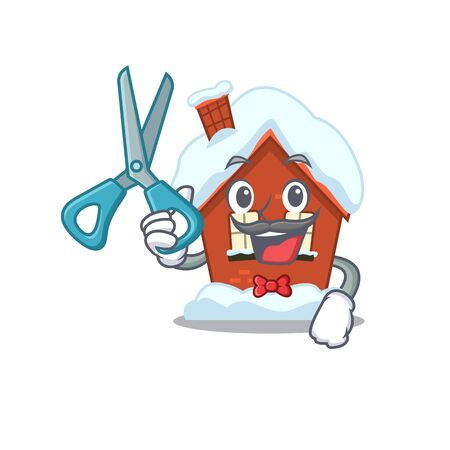 Cartoon winter house with in barber character