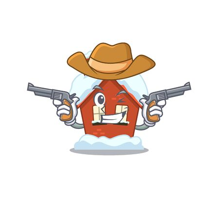 Cartoon winter house with in cowboy character