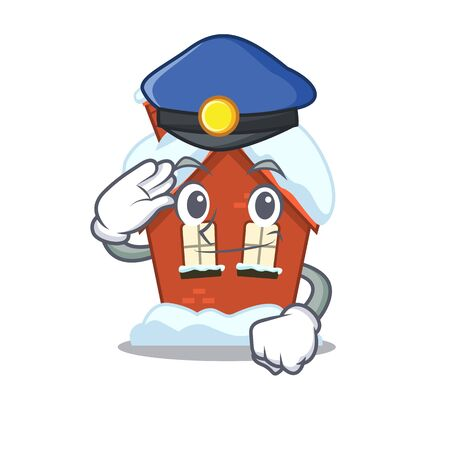 Cartoon winter house with in police character
