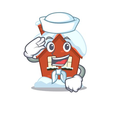 Cartoon winter house with in sailor character