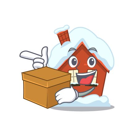 Winter house in the cartoon shape with bring box