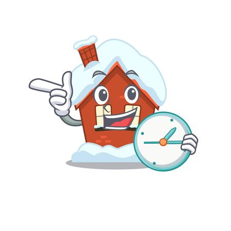 Winter house in the cartoon shape with bring clock