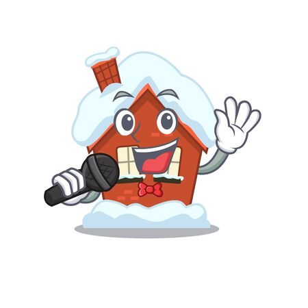Mascot winter house a cartoon isolated singing