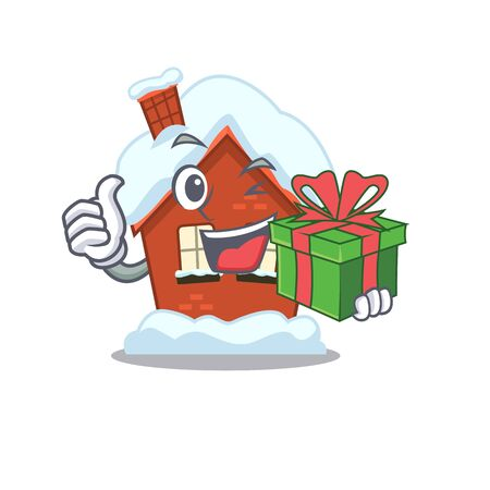 Mascot winter house a cartoon isolated holding gift