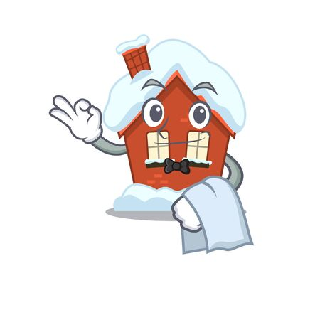 Mascot winter house a cartoon isolated waiter