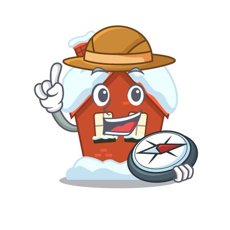 Mascot winter house a cartoon isolated holding compass Vettoriali