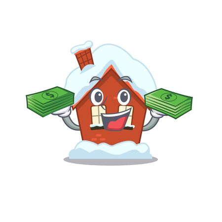 Mascot winter house a cartoon isolated holding money