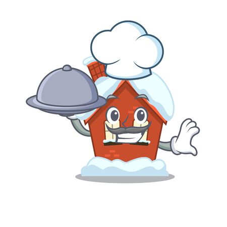 Mascot winter house a cartoon isolated chef holding food