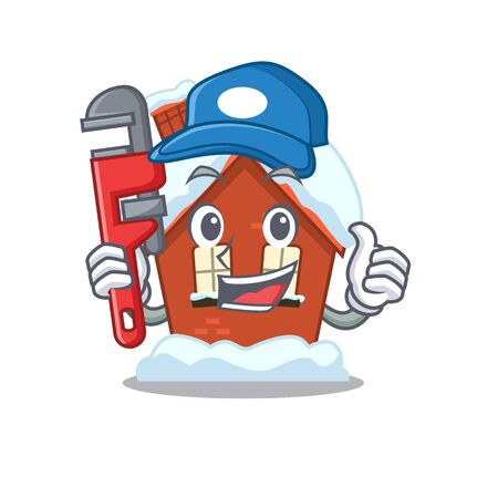 Plumber winter house with in character shape Illustration