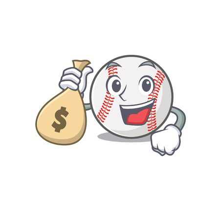 Cartoon baseball with in a character holding money bag Illusztráció