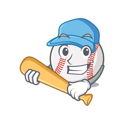 Cartoon baseball with in a character playing baseball  イラスト・ベクター素材