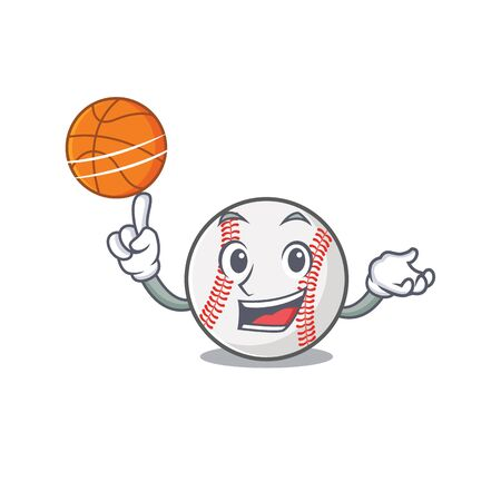 Cartoon baseball with in a character holding basketball  イラスト・ベクター素材