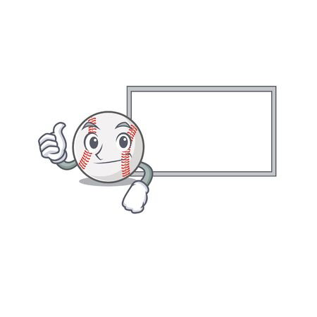 Cartoon baseball with in a character thumbs up with board