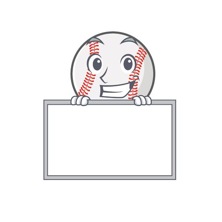 Cartoon baseball with in a character grinning with board 写真素材 - 134005408