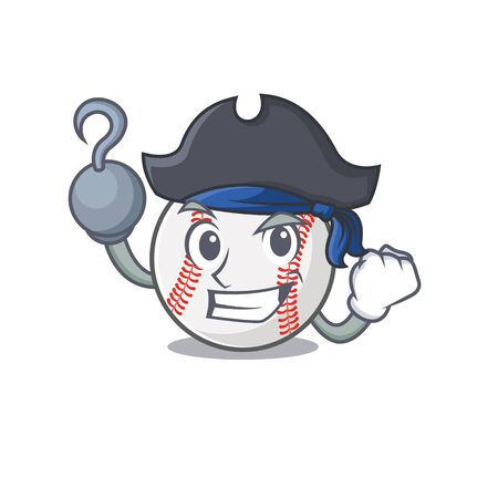 Cartoon baseball with in a character pirate