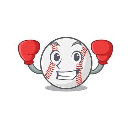 Cartoon baseball with in a character boxing