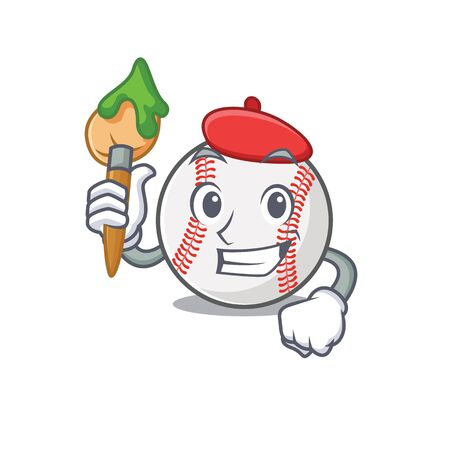 Cartoon baseball with in a character painter 写真素材 - 134005412