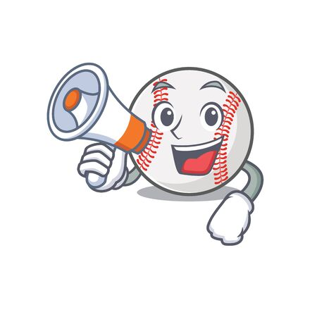 Cartoon baseball with in a character with holding megaphone  イラスト・ベクター素材